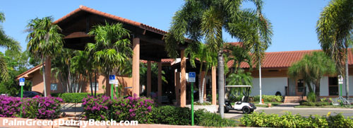 This fantastic clubhouse is the place for residents of Palm Greens to relax and socialize.